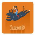 Rodeo icon man riding a bull symbol flat style of illustration Royalty Free Stock Photos