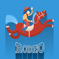 Rodeo poster.Cowboy on horse Royalty Free Stock Images