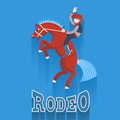 Rodeo poster cowboy on horse with text flat style of illustration Royalty Free Stock Image