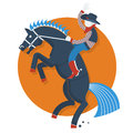 Rodeo poster cowboy on horse with text isolated on flat style of illustration white Stock Photography