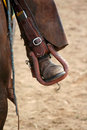 Rodeo rider's foot in stirrup Royalty Free Stock Photos
