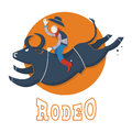 Rodeo symbol man riding a bull illustration flat style Royalty Free Stock Image