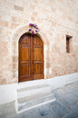 Rodos figurate door in the sandstone wall Royalty Free Stock Photos