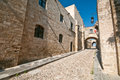 Rodos medieval long street at rhodes island Royalty Free Stock Image