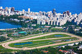 Rodrigo de freitas lagoon aerial view of the race track of lagoa and leblon in rio janeiro brazil Royalty Free Stock Photos