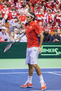 Roger federer novi sad january of switzerland during the davis cup match between serbia and switzerland january novi sad serbia Stock Photo