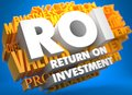 Roi business concept return on investment the words in white color on cloud of yellow words on blue background Royalty Free Stock Image