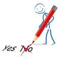 Rojo pen yes no de stickman Fotos de archivo libres de regalías