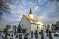 Rokke church in the winter (southwest) Royalty Free Stock Photography