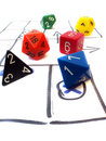 Role playing game table with dice set Stock Image