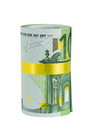 Roll of 100 euro banknotes with yellow ribbon Stock Image