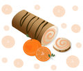 Roll cakes Vector with orange fruits. Sweets, dessert berry frosting delicious chocolate melt