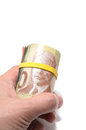 Roll of canadian banknotes with dollars at the surface Royalty Free Stock Photography