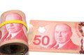 Roll of canadian dollars series with yellow rubber band over the eyes Stock Image