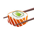 Roll with chopsticks Royalty Free Stock Photo