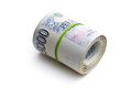 The roll of czech money on white background Royalty Free Stock Photos