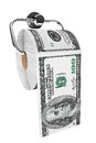 Roll of dollars bills as a toilet paper on chrome holder white background Royalty Free Stock Image