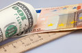 Roll dollars and euro american dollar bills on background rulers Royalty Free Stock Photo