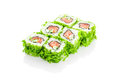 Roll Green River, salad, salmon, cucumber Royalty Free Stock Photo
