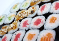 Roll made salmon eel tuna vegetables japanese sushi sat Stock Photo
