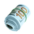 Roll of new hundred dollars Stock Photo