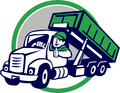 Roll-Off Bin Truck Driver Thumbs Up Circle Cartoon Royalty Free Stock Photo