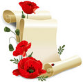 Roll of old paper and poppies Royalty Free Stock Image