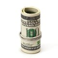 Roll of One Hundred Dollar Bills Tied in Burlap String Royalty Free Stock Photo