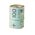 Roll of one hundred polish zloty bills tied in burlap string isolated on a white background Royalty Free Stock Photos