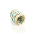Roll pack of dollars isolated on white background Royalty Free Stock Images