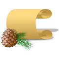 Roll of parchment paper and pine cone Royalty Free Stock Photo