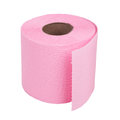 Roll of pink toilet paper on white background Royalty Free Stock Photo