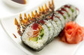 Roll tempura tuna and salmon Royalty Free Stock Photo
