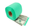Roll of toilet paper and money Royalty Free Stock Images