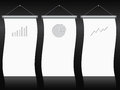 Roll up banner set with charts and diagrams banners gray Royalty Free Stock Image