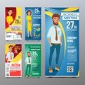 Roll Up Stand Set Vector. Vertical Flag Blank Design. Businessman And Business Woman. For Business Conference