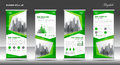 Roll up banner stand template design, Green banner layout, ads