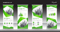 Roll up banner stand template design, Green banner layout