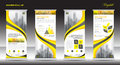 Roll up banner stand template design, Yellow banner layout