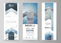 Roll up banner stands, flat design templates, geometric style, vertical vector flyers, flag layouts. Geometric blue