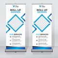 Roll up banner design template, vertical, abstract background, pull up design, modern x-banner, rectangle size. Royalty Free Stock Photo