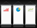 Roll up banners with charts and diagrams color Stock Image