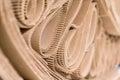 Roll of wavy craft paper folded in random. Single faced corrugat