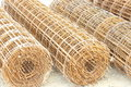 Roll of wire rusting wire mesh structure Stock Image