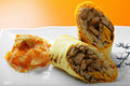 Rolled beef sandwich closeup Royalty Free Stock Photo