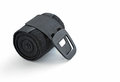 Rolled black elastic bandage with clip fastener wrap used to support or compress a part of the human body Stock Photo