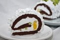 Rolled cake with whipped cream and fruits Royalty Free Stock Photo