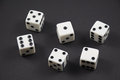 Rolled dice showing the numbers one to six Royalty Free Stock Photo