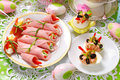 Rolled ham stuffed with cheese and vegetables for easter breakfa Royalty Free Stock Photo