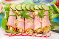 Rolled ham stuffed with salad Royalty Free Stock Images